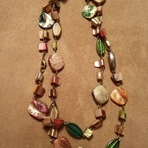 Gem stone sweater necklace